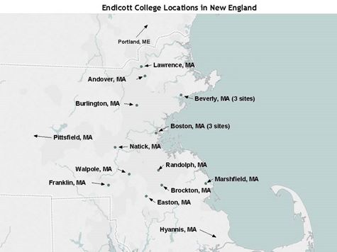 Map of Endicott College Locations in New England