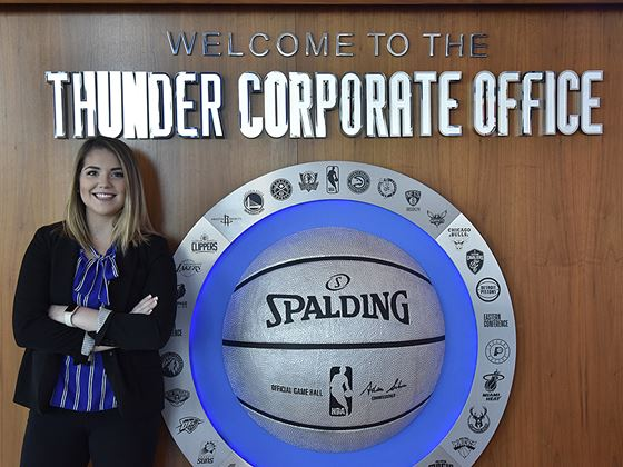 Endicott student Lauren Sheehan at Thunder Corporate Office